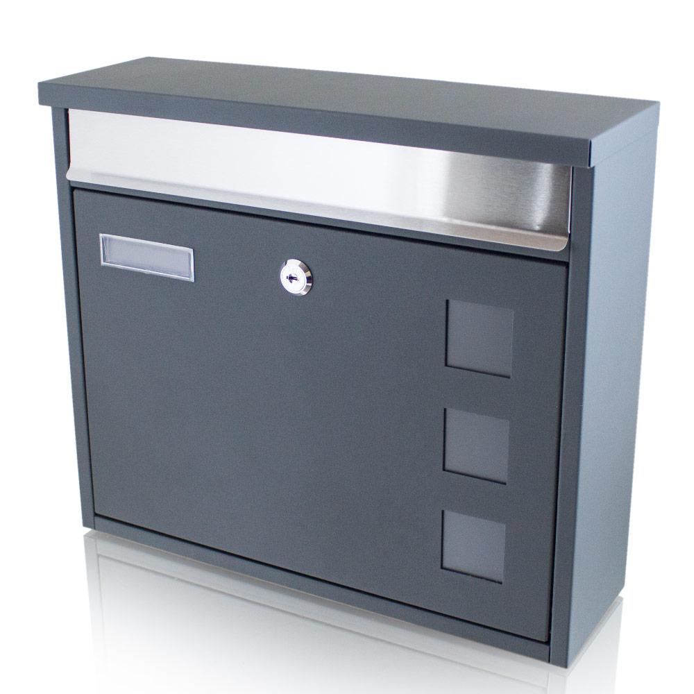 Bituxx Briefkasten Hausbriefkasten Mailbox mit Sichtfenster Namenschild Weiss