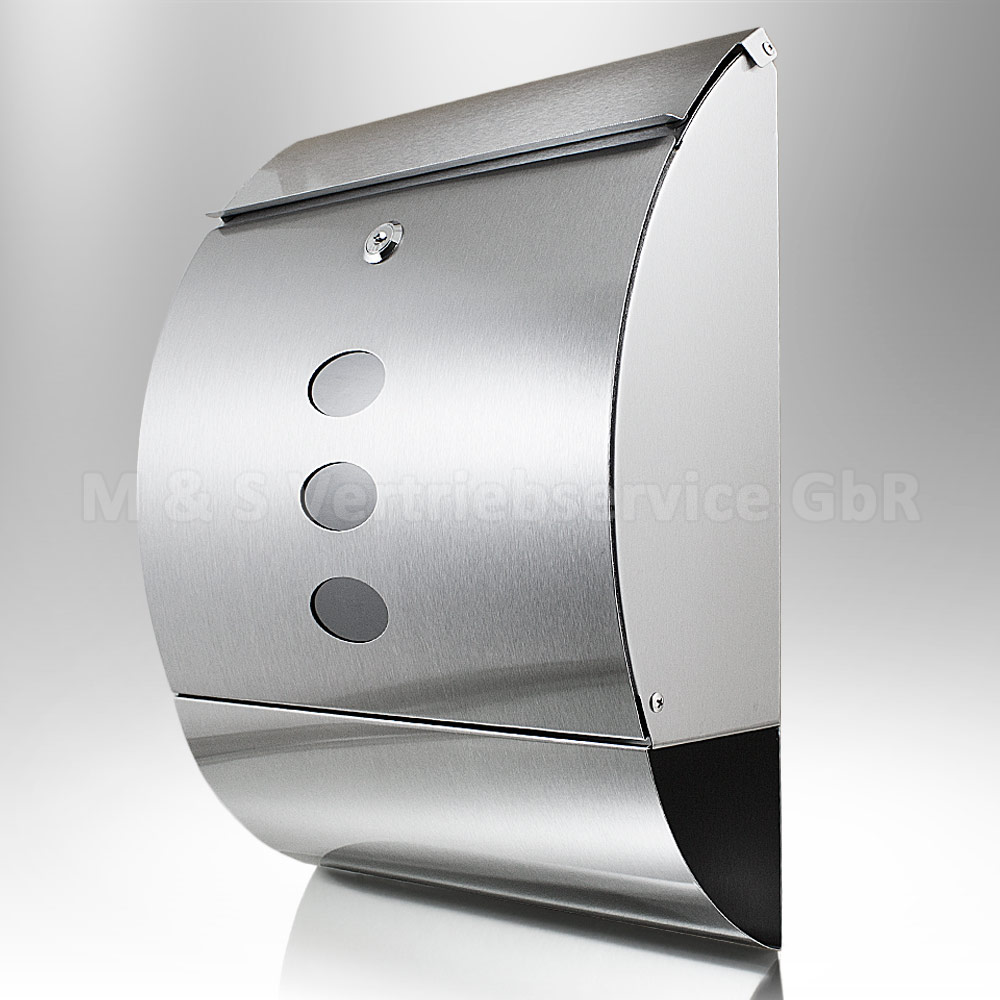Design-Edelstahl-Briefkasten-Post-Briefkasten-Wandbriefkasten-mit-Zeitungsfach
