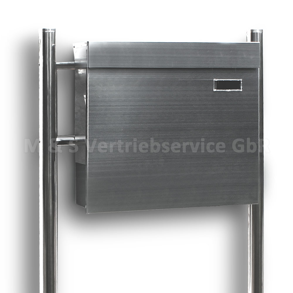 edelstahl standbriefkasten modern zeitungsfach design briefkasten postkasten neu ebay. Black Bedroom Furniture Sets. Home Design Ideas