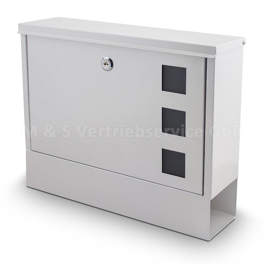 briefkasten wei post briefkasten wandbriefkasten mit zeitungsfach postkasten ebay. Black Bedroom Furniture Sets. Home Design Ideas