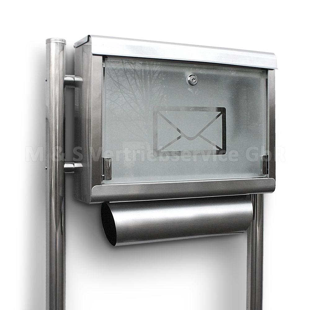 edelstahl standbriefkasten stand briefkasten postkasten postbriefkasten glas neu ebay. Black Bedroom Furniture Sets. Home Design Ideas