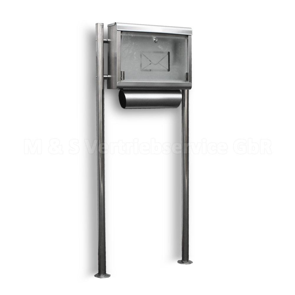edelstahl standbriefkasten stand briefkasten postkasten. Black Bedroom Furniture Sets. Home Design Ideas