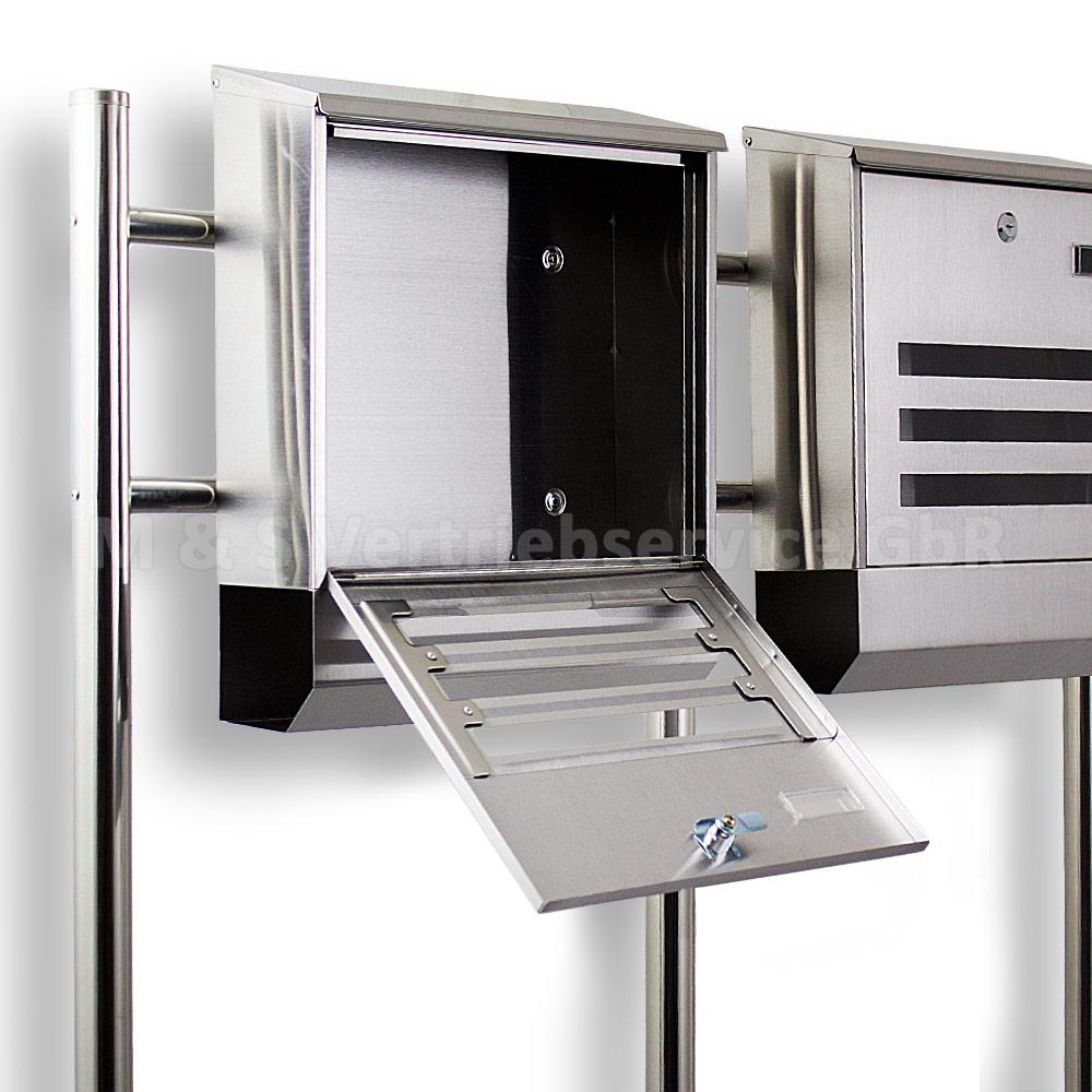 postkasten edelstahl design doppelstandbriefkasten zeitungfach briefkastenanlage ebay. Black Bedroom Furniture Sets. Home Design Ideas