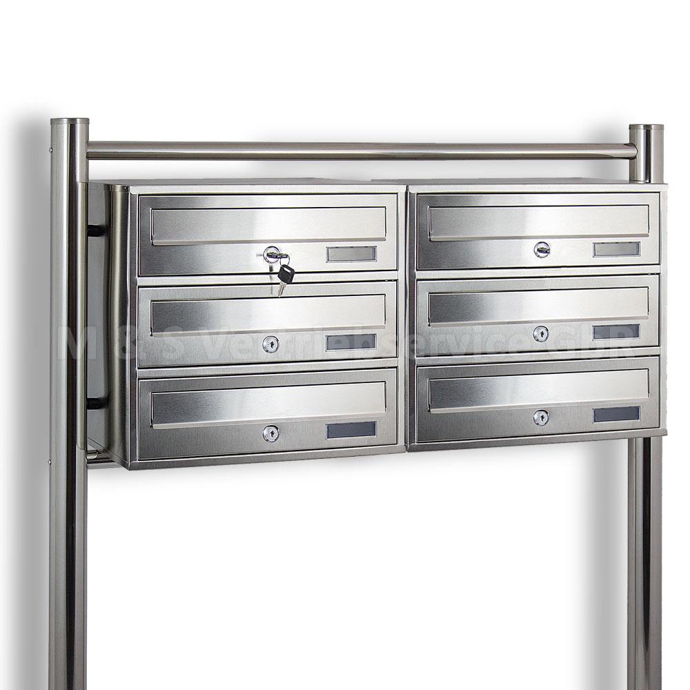 6er postfach doppel edelstahl briefkastenanlage 6 fach standbriefkasten system ebay. Black Bedroom Furniture Sets. Home Design Ideas