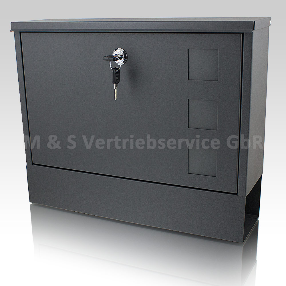 briefkasten grau anthrazit post briefkasten wandbriefkasten mit zeitungsfach neu ebay. Black Bedroom Furniture Sets. Home Design Ideas