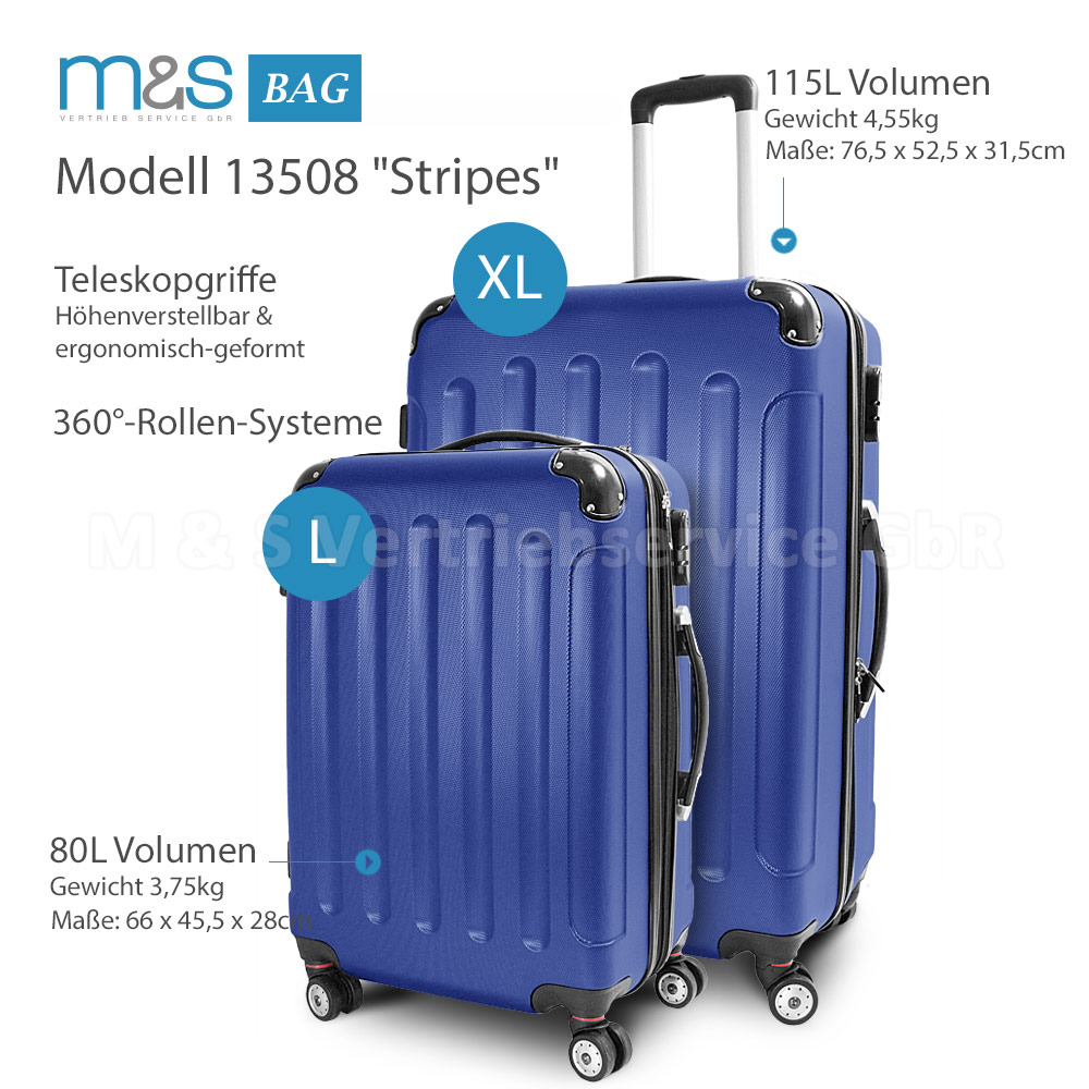 trolley reisekofferset 2 teilig l xl reisegep ck tasche stripes navy blau ebay. Black Bedroom Furniture Sets. Home Design Ideas