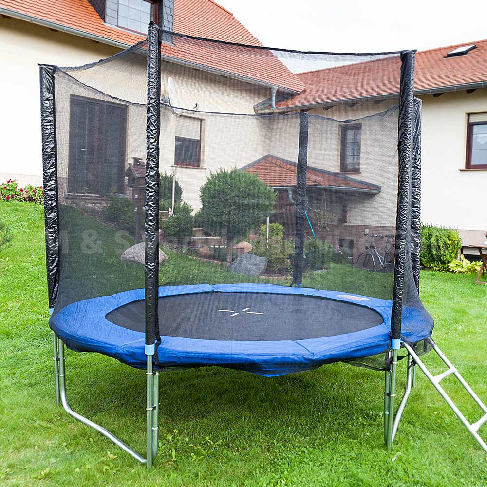 trampolin 250 outdoor gartentrampolin komplettset 2 50m 250 cm ebay. Black Bedroom Furniture Sets. Home Design Ideas