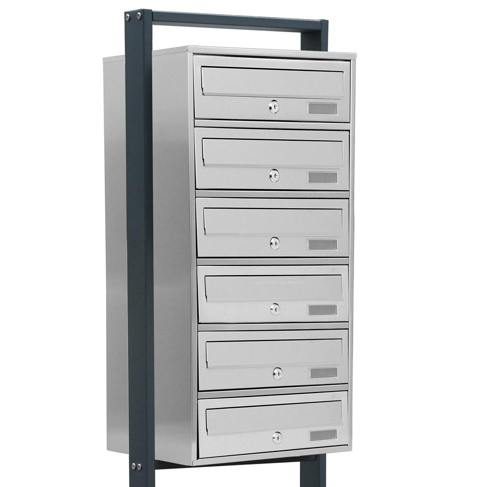Kelvin® 6er Edelstahl Standbriefkasten mit Regendach Briefkasten Anlage 6 fach