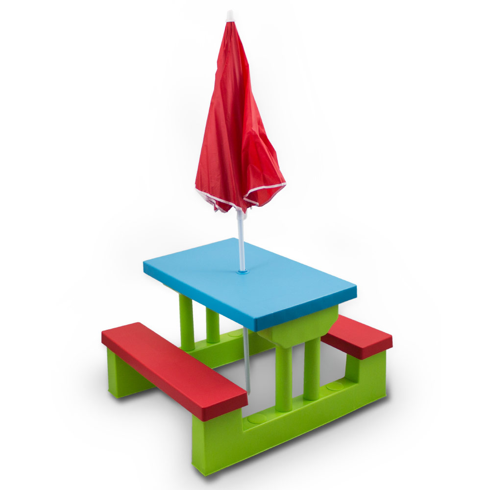Bituxx Kindersitzgruppe Kindermöbel Sitzgarnitur Kindertisch inkl Sonnenschirm