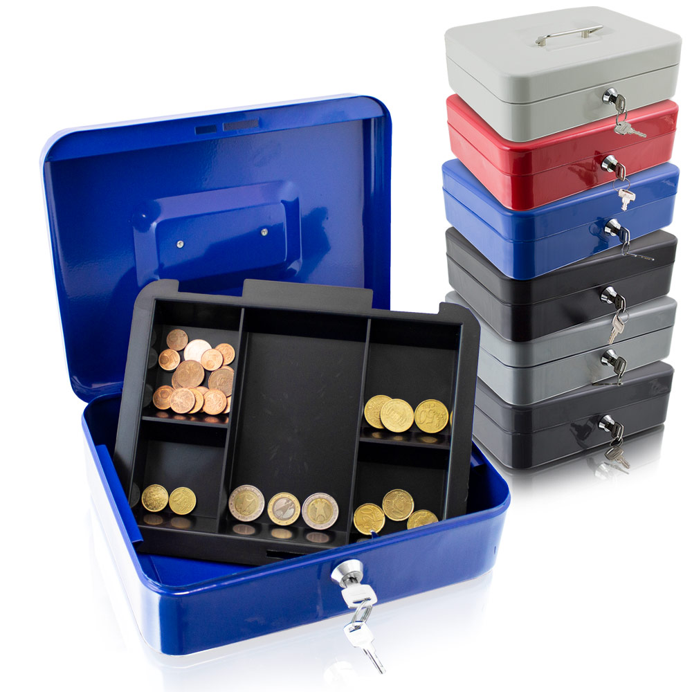 geldkassette 25 cm gro abschlie bar m nz geld z hlbrett kasse safe blau rot ebay. Black Bedroom Furniture Sets. Home Design Ideas